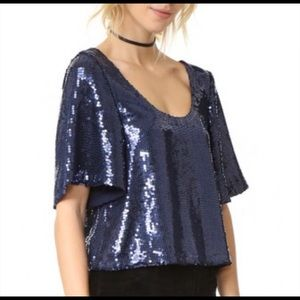 NWT Free People sequin navy top